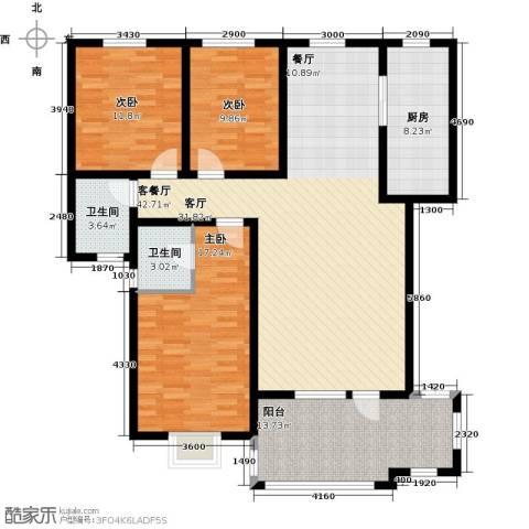 金桥天海湾3室1厅2卫1厨138.00㎡户型图