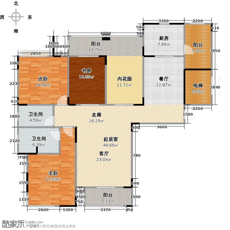 云海湾F户型3室2卫1厨