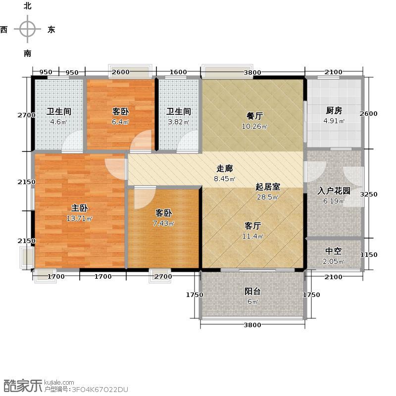 御金沙C5栋03户型3室2卫1厨