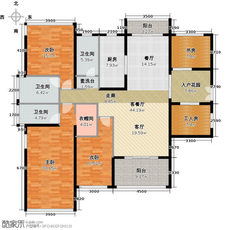 光明大第162.00㎡4栋D型5房2厅3卫户型5室2厅3卫