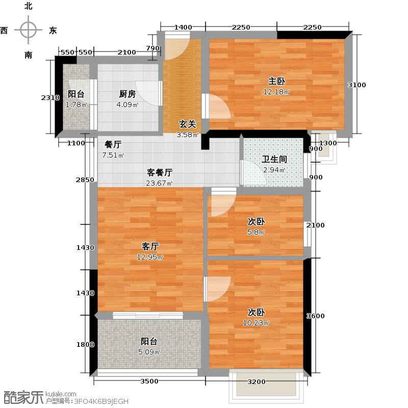广电兰亭荣荟89.00㎡B3户型 3室2厅1卫户型3室2厅1卫