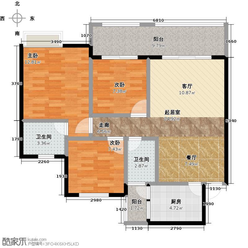 泰合蓝湾香郡户型3室2卫1厨