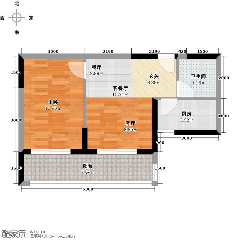 塞纳河畔小区53.90㎡B户型 1室1厅1卫户型1室1厅1卫
