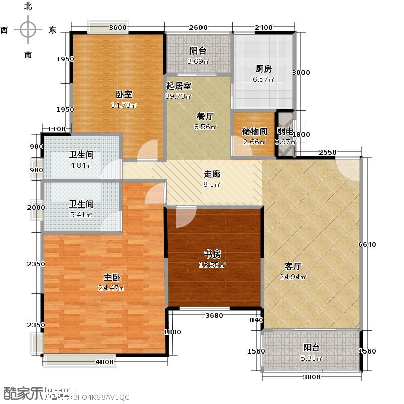 合生湖山国际尚林美居户型2室2卫1厨