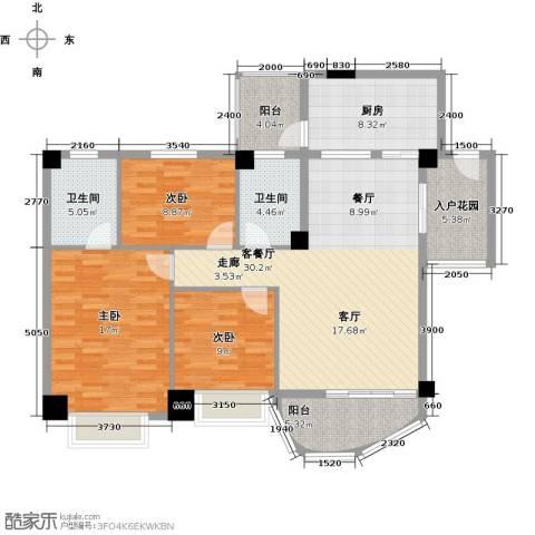 龙福花园3室1厅2卫1厨139.00㎡户型图