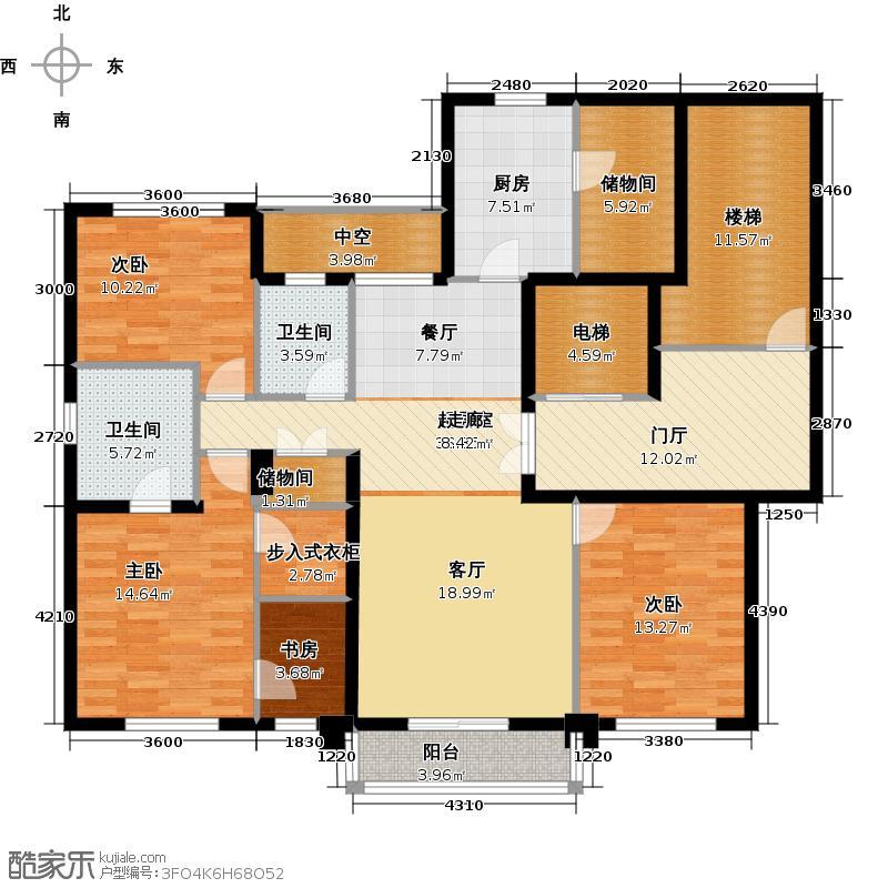古北大成公寓C1户型4室2卫1厨