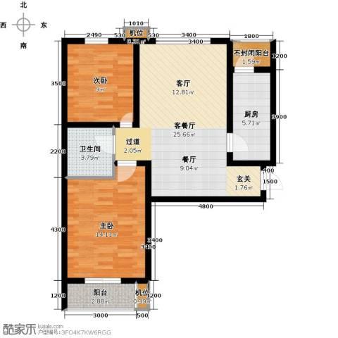 珠峰国际花园三期2室1厅1卫1厨90.00㎡户型图