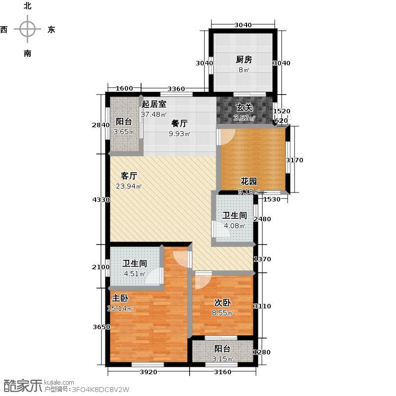 邦盛水岸御园的二居室户型2室2卫1厨