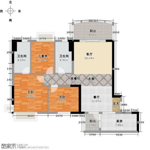 广州碧桂园城市花园3室1厅2卫1厨121.00㎡户型图
