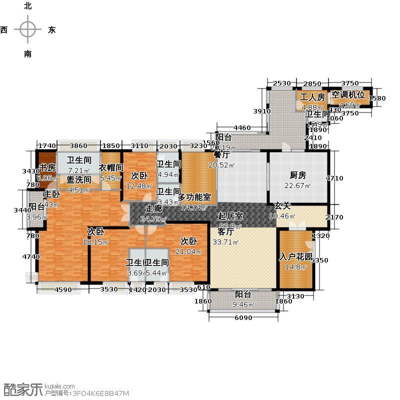 汇景新城E2街区C1栋01户型5室6卫1厨