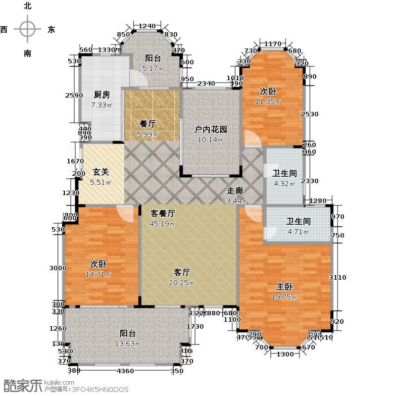 紫金伴山153.63㎡M户型3室1厅2卫1厨