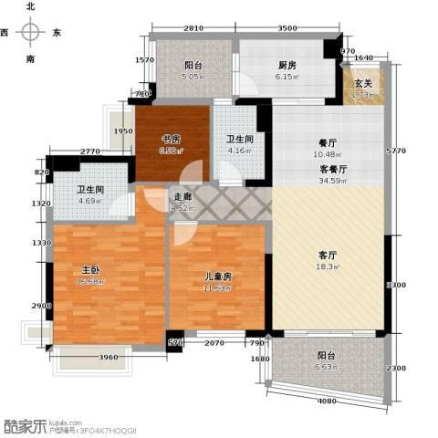 广州碧桂园城市花园3室1厅2卫1厨110.00㎡户型图