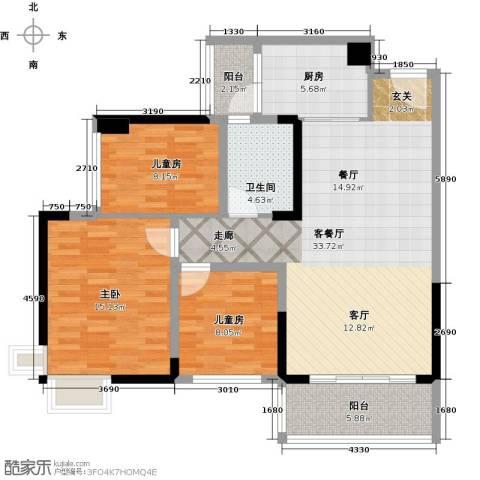 广州碧桂园城市花园3室1厅1卫1厨96.00㎡户型图