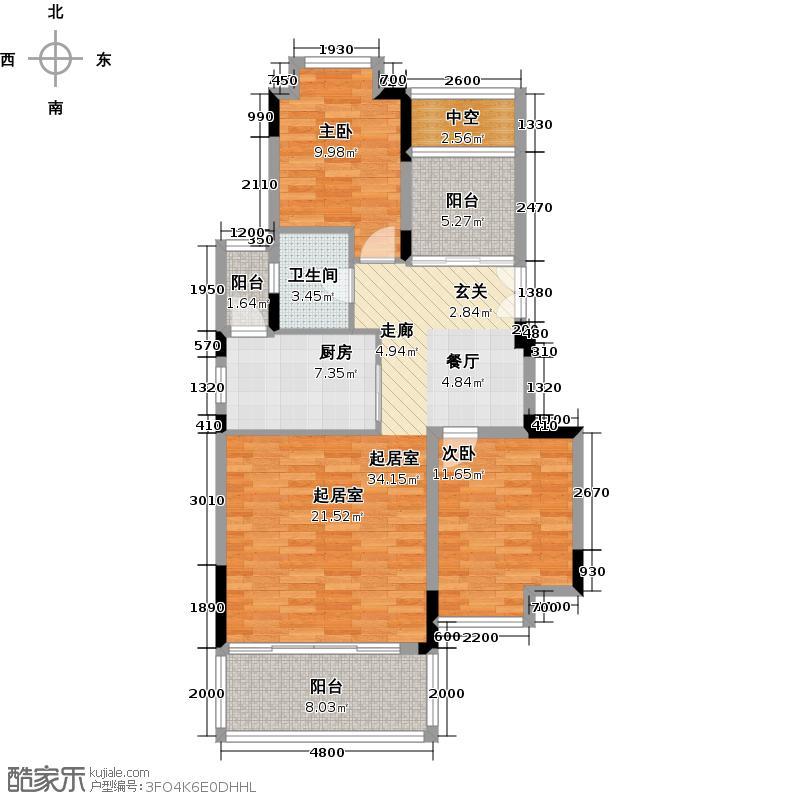 招商观园108.00㎡二期11栋A型奇数层2+1房1厅1卫108㎡户型3室1厅1卫