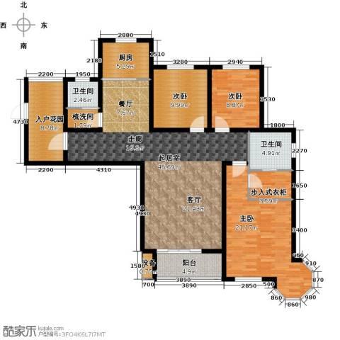 西城国际3室0厅2卫1厨136.00㎡户型图