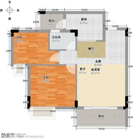 友田碧云轩2室0厅1卫1厨80.00㎡户型图