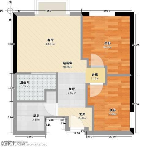 联发广场2室0厅1卫1厨76.00㎡户型图