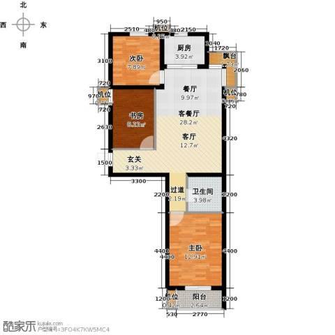 珠峰国际花园三期3室1厅1卫1厨99.00㎡户型图