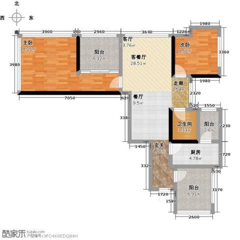 龙华花半里2室1厅1卫1厨115.00㎡户型图