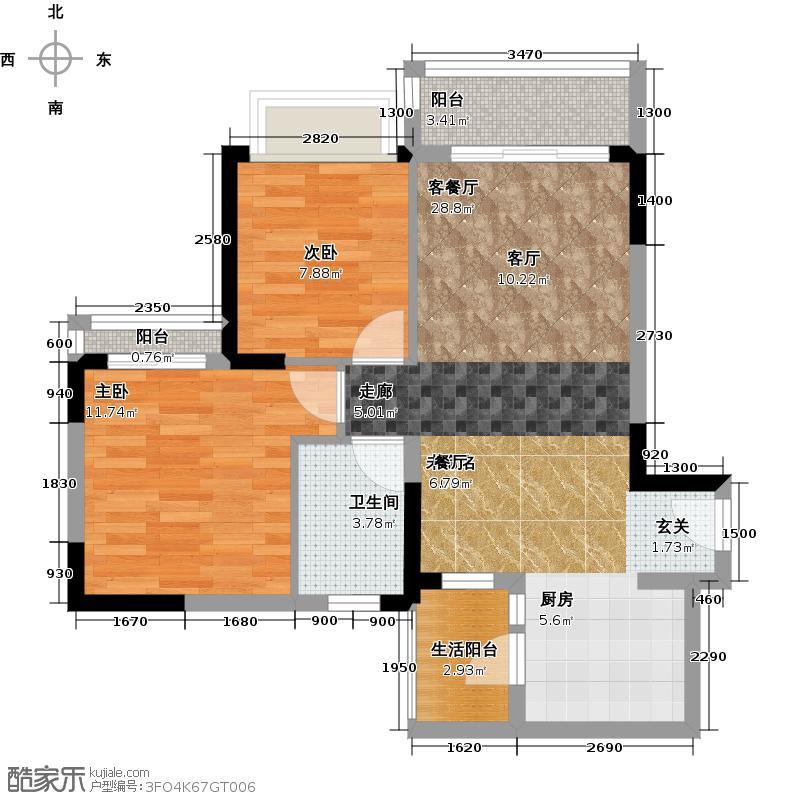 九龙仓时代小镇78.00㎡C1户型2室1厅1卫