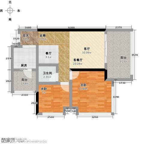 龙华花半里2室1厅1卫1厨91.00㎡户型图