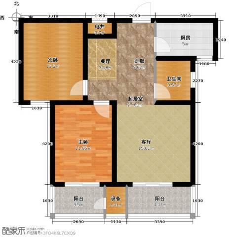 紫晶名门2室0厅1卫1厨88.00㎡户型图