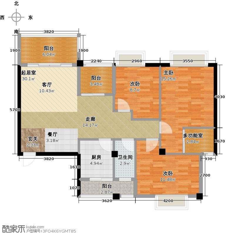 广锦天・阳光叠彩3号楼B户型3室1卫1厨