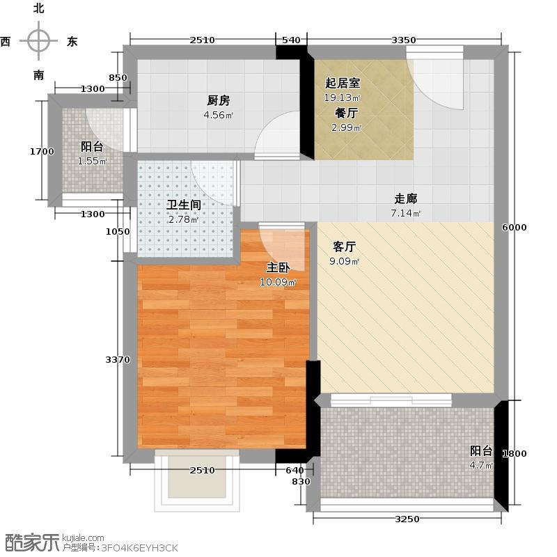 勤天SOLO上作C户型 1房1厅 58―61平米户型1室1厅1卫