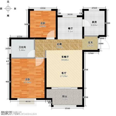 橡树湾2室1厅1卫1厨89.00㎡户型图