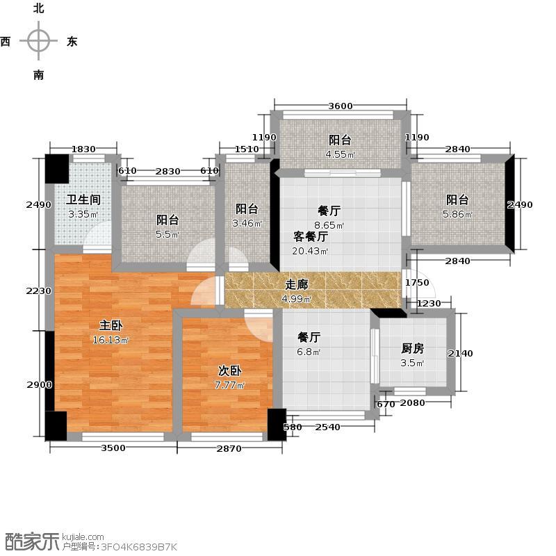 龙华花半里6号楼B-C座06单位户型2室1厅1卫1厨