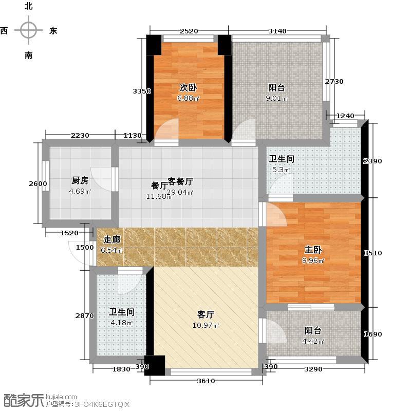 卓越皇后道073-4栋A-B单元B单位偶数层户型2室1厅2卫1厨