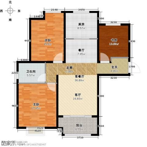橡树湾3室1厅1卫1厨140.00㎡户型图