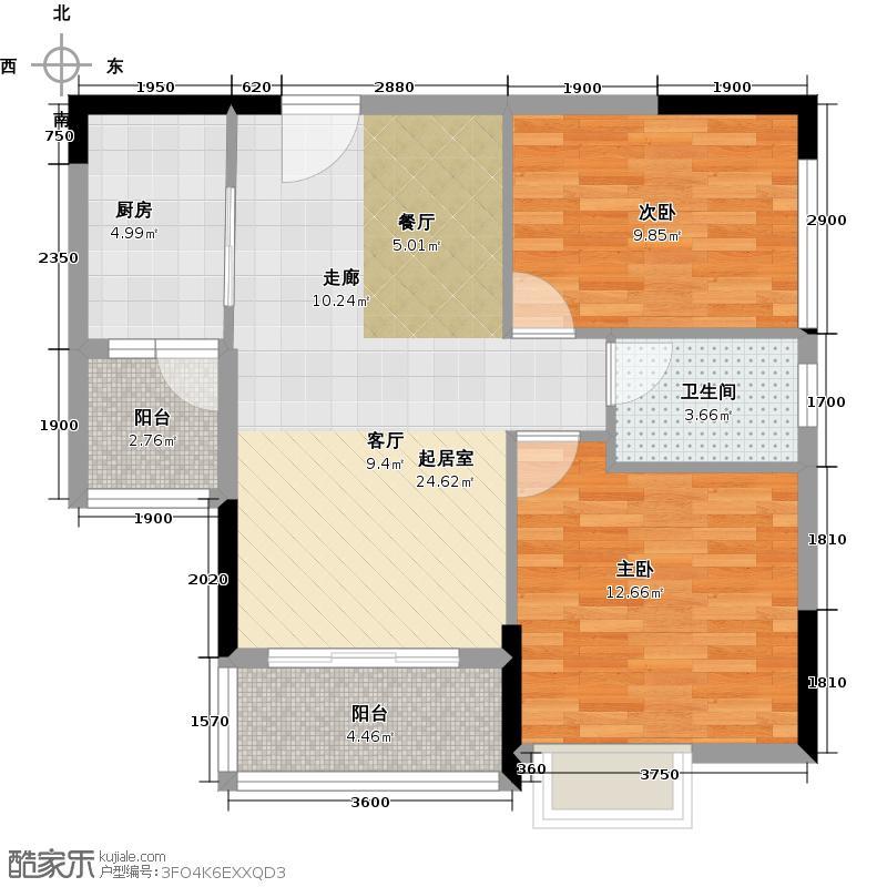勤天SOLO上作B户型 2房1厅 83―88平米户型2室1厅1卫