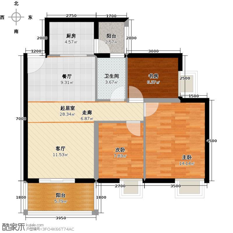 尚品雅居91.00㎡3栋2座奇数层户型3室1卫1厨