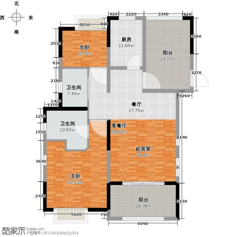 佳兆业湾邸A一层户型2室1厅2卫1厨