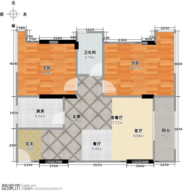 泰然南湖玫瑰湾76.00㎡二期K5户型2室1厅1卫1厨