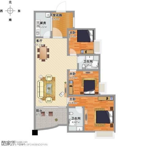 星越・星湖华府3室1厅2卫1厨138.00㎡户型图