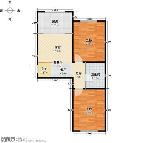 新华名座2室1厅1卫1厨77.00㎡户型图