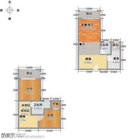 汇景・上层1厅2卫1厨103.00㎡户型图