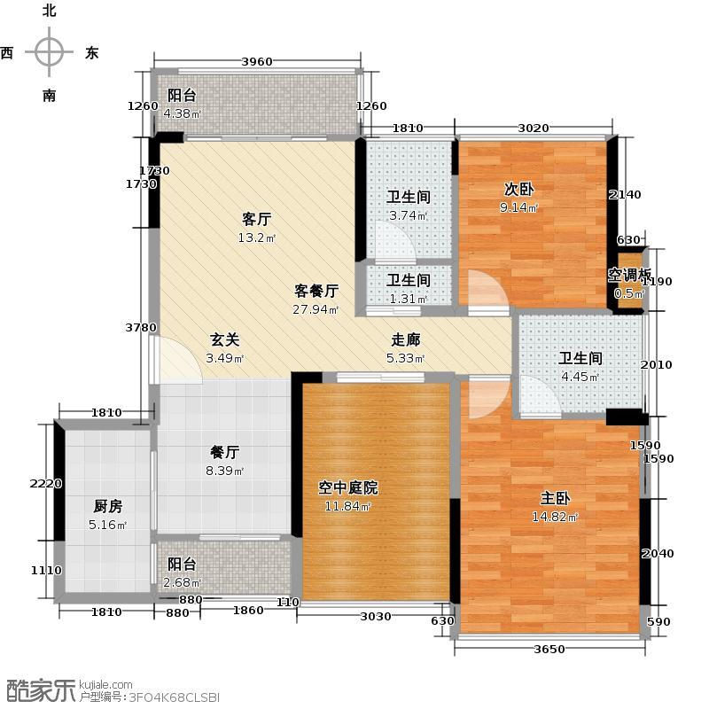 金地外滩8号户型2室1厅3卫1厨