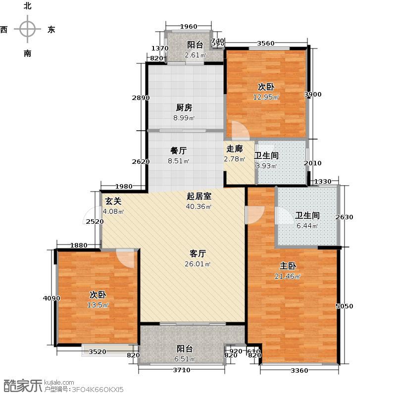中建溪岸澜庭D2户型3室2卫1厨