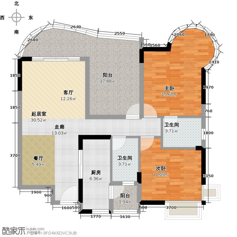 广晟海韵兰庭E3栋标准层04单元户型2室2卫1厨