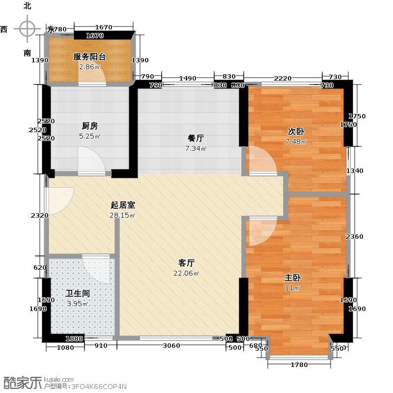 成功红树林1栋5号楼A2户型2室1卫1厨