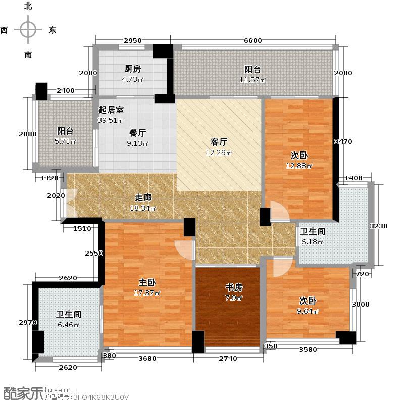 十五�花园146.00㎡B型2-16层4房2厅2卫户型