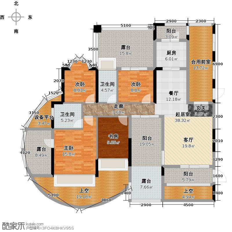 星海岸城市花园18座双数层01单位户型4室2卫1厨