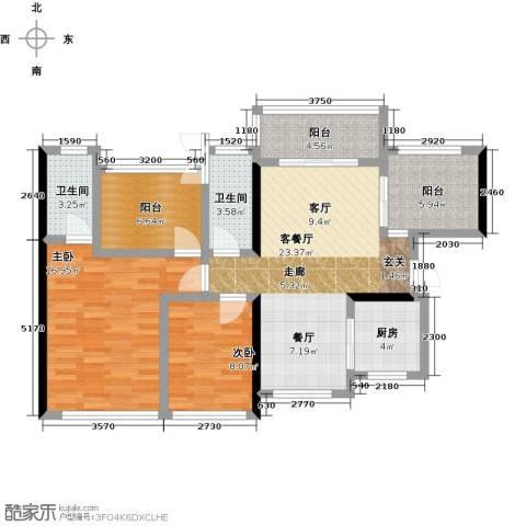 龙华花半里2室1厅2卫1厨112.00㎡户型图