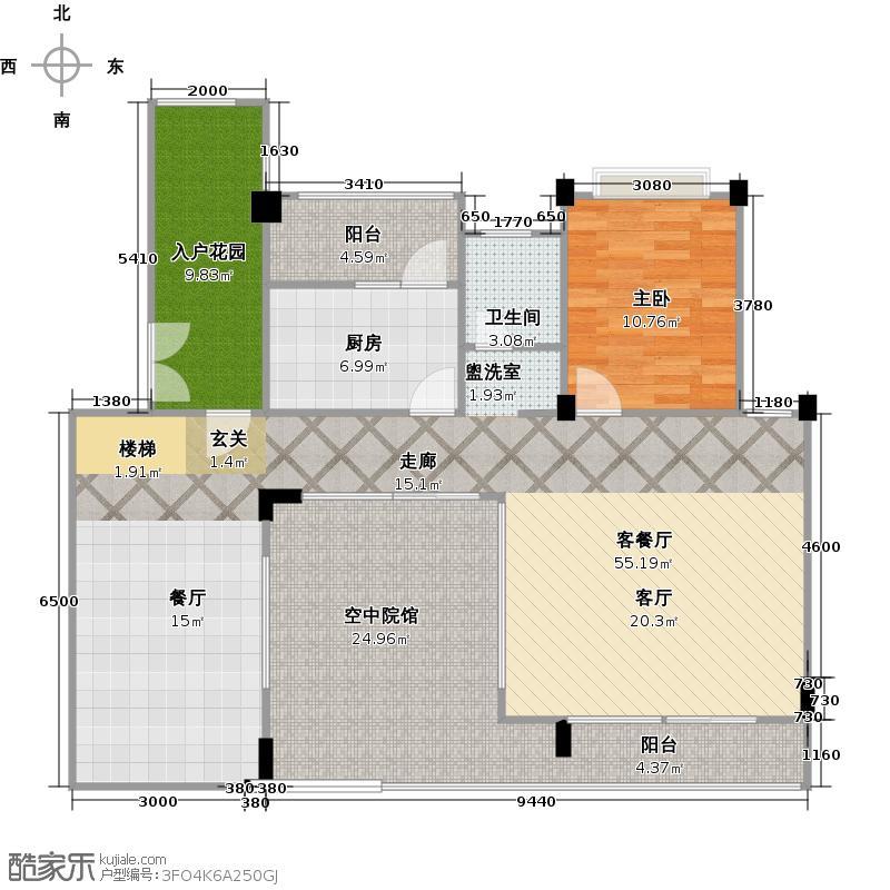 泰然南湖玫瑰湾151.00㎡户型1室1厅1卫1厨