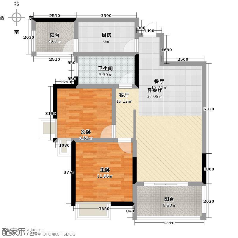 发能海心沙88.00㎡D2户型 建筑面积:约88㎡ 两室两厅一卫+南北阳台户型2室2厅1卫