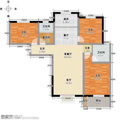 珠峰国际花园三期3室1厅2卫1厨136.00㎡户型图