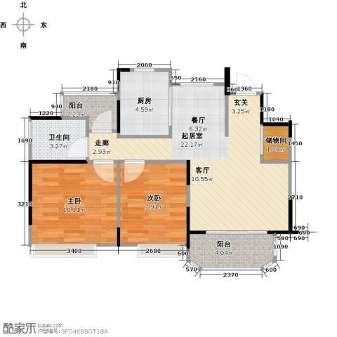 中建溪岸澜庭2室0厅1卫1厨85.00㎡户型图